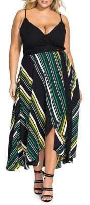 City Chic Plus Varsity Striped Fit-&-Flare Dress