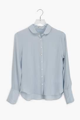 Genuine People Silk Round Collar Button Down Blouse