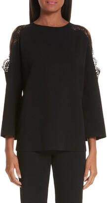 Stella McCartney Lace Trim Cold Shoulder Sweater