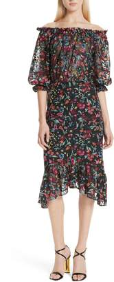 Saloni Grace Floral Embroidered Off the Shoulder Tulle Dress
