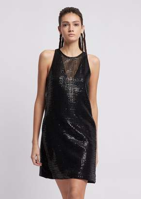 Emporio Armani Dress With Micro-Sequin Mesh And Satin Piping