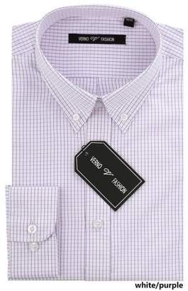 Verno Mens Navy Blue and White Plaid Slim Fit Dress Shirt