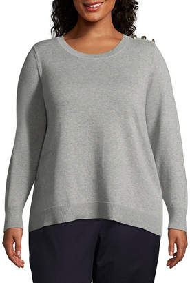 Liz Claiborne Button Pullover- Plus