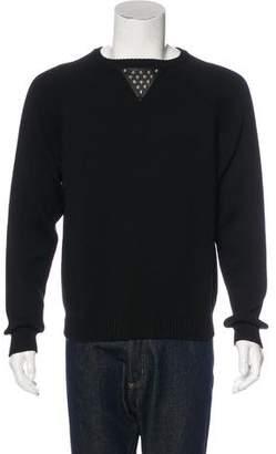 Saint Laurent Stud-Embellished Leather-Trimmed Sweater