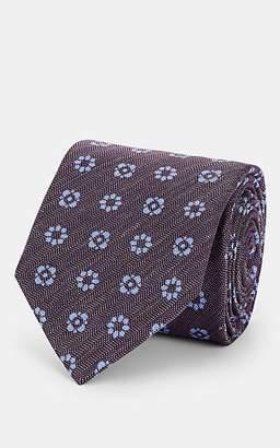 Barneys New York Men's Floral-Print Mélange Silk Necktie - Purple