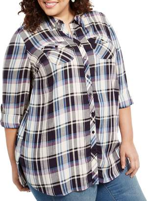Style&Co. Style & Co. Plus Plaid Long-Sleeve Utility Shirt