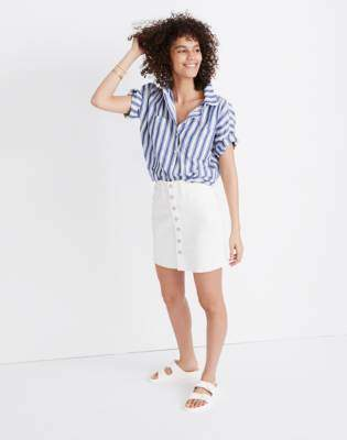 Madewell Stretch Denim Straight Mini Skirt in Tile White: Button-Front Edition