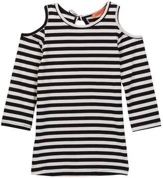 Funkyberry Striped Cold Shoulder Shirt (Toddler & Little Girls)