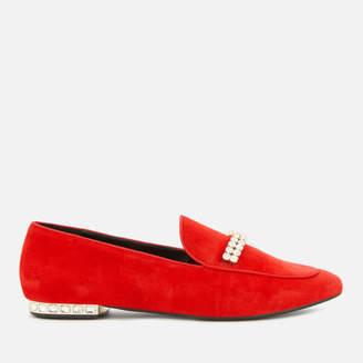 Dune Women's Gara Suede Jewelled Heel Loafers - Red