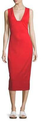 Rosetta Getty V-Neck Sleeveless Crisscross-Back Fitted Midi Dress
