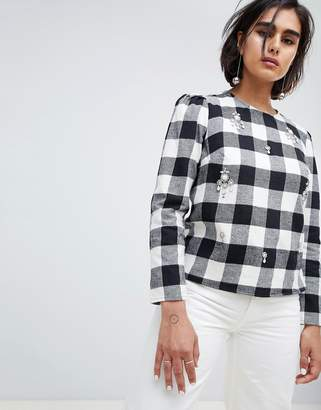 House of Holland Embellished Top In Check