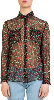 The Kooples Rosa Rosa Sheer Button-Down Shirt