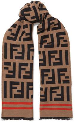 Fendi Wool And Silk-blend Jacquard Scarf - Camel