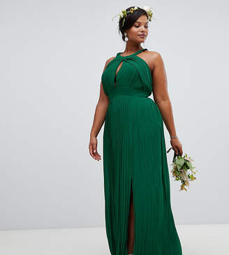 Asos Tfnc Plus TFNC Plus pleated bridesmaids maxi dress in forest green