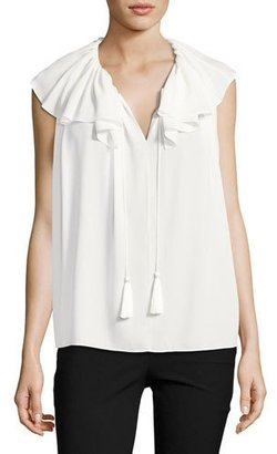Kate Spade New York Silk Georgette Tie-Neck Top, White $228 thestylecure.com