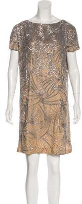 Reem Acra Beaded Mini Dress
