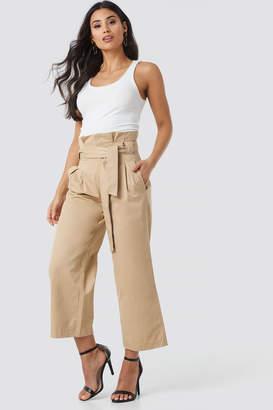 BEIGE Na Kd Trend Tied Waist Wide Cotton Pants