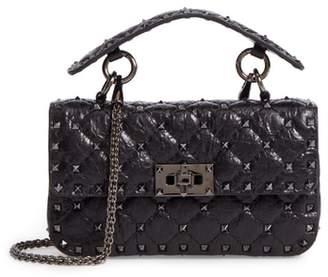 Valentino Matelasse Small Rockstud Spike Leather Top Handle Bag