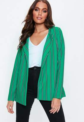 Missguided Green Stripe Stretch Crepe Blazer