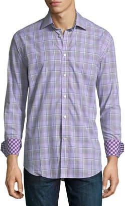 Neiman Marcus Micro-Plaid Print Sport Shirt