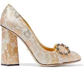 Dolce & Gabbana Embellished Metallic Jacquard Pumps