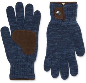 Oliver Spencer Denford Suede-Trimmed Mélange Wool-Blend Gloves