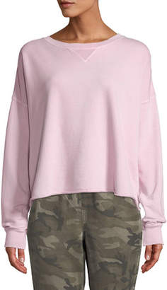 Amo Denim Cropped Raw-Edge Pullover Sweatshirt