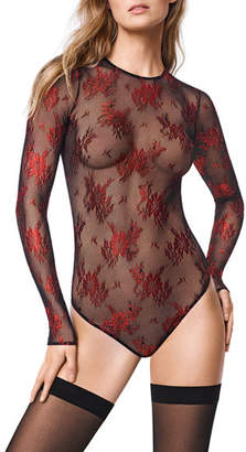 Wolford Lea Long-Sleeve Floral-Lace String Bodysuit