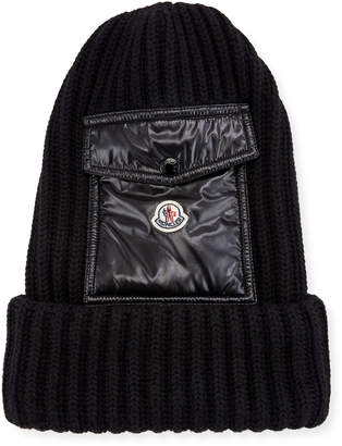 Moncler Men's Ribbed Beanie Hat w/ Flap Pocket