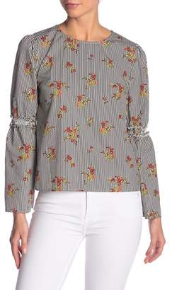 SWEET RAIN Patterned Bell Sleeve Blouse