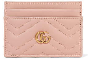Gucci Gg Marmont Quilted Leather Cardholder - Blush