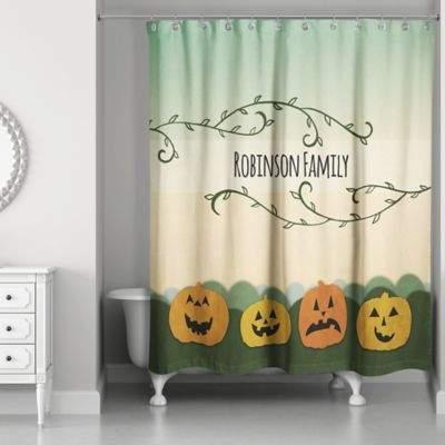 Pumpkin Patch Friends Shower Curtain in Green/Orange