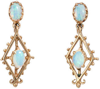 One Kings Lane Vintage 14K Opal Drop Earrings - Precious & Rare Pieces