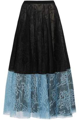 Erdem Zaneen Two-tone Chantilly Lace Midi Skirt