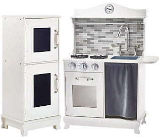 Teamson Kids Farmhouse Kitchen with Stove & Ref rigerator