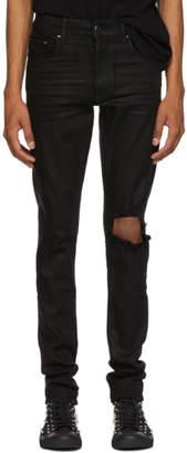 Amiri Black Wax Broken Jeans