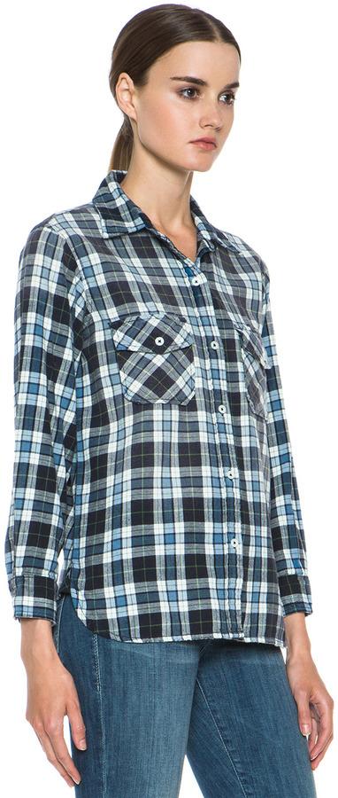 Current/Elliott The Perfect Shirt in Jet Plaid