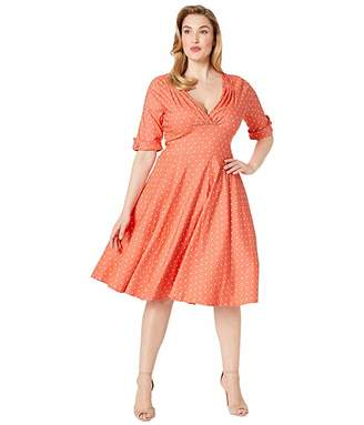 83d63d872de32 Unique Vintage Plus Size Pantone x 1950s Delores Swing Dress with Sleeves
