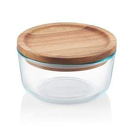Pyrex Round Storage Container With Wooden Lid 4 Cup
