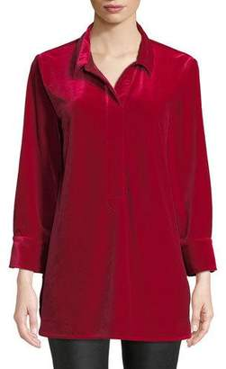 Joan Vass 3/4-Sleeve Side-Slit Relaxed Velvet Tunic Shirt, Petite