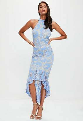 Missguided Corded Lace Fishtail High Neck Dress