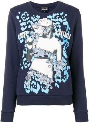 Just Cavalli logo graphic print sweater