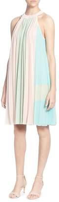 Catherine Malandrino Aurore Pleated Color Block Shift Dress