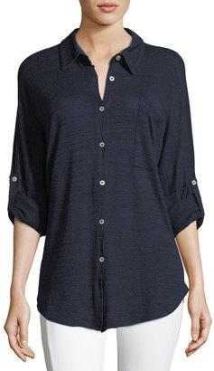 Allen Allen Drop-Shoulder Button-Front Top $89 thestylecure.com