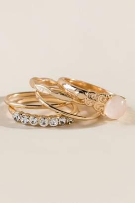 francesca's Skye Semi-Precious Stone Ring Set - Pale Pink