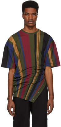 Diesel Red Tag Green and Multicolor Glenn Martens Edition Stripe Pique T-Shirt