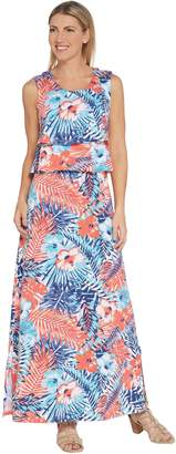Denim & Co. Petite Floral Printed Sleeveless Knit Maxi Dress