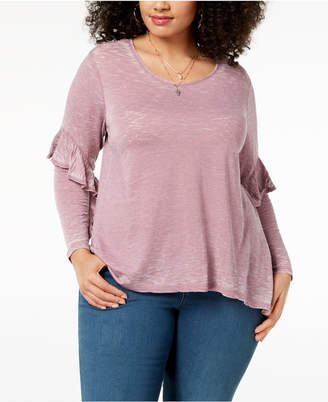 Style&Co. Style & Co Plus Size Burnout Ruffled-Sleeve Top, Created for Macy's