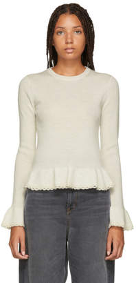 See by Chloe White Ruffled Wool Sweater