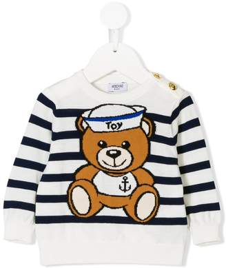 Moschino Kids striped teddy bear sweater